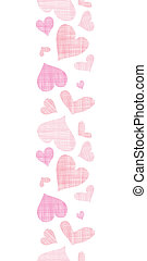 Pink textile hearts vertical border seamless pattern background