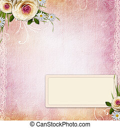 Pink Texture Background with  frame, roses
