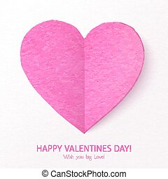 Pink textured folded vector heart
