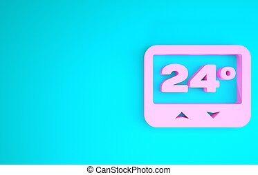 Pink Thermostat icon isolated on blue background. Temperature control. Minimalism concept. 3d illustration 3D render