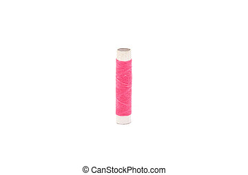 pink thread on a white background
