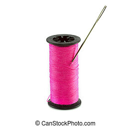 pink thread with needle