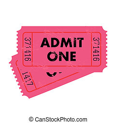 Pink Ticket - Grunge pink ticket isolated on a white...
