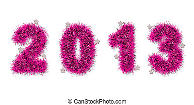 pink tinsel forming 2013 year number
