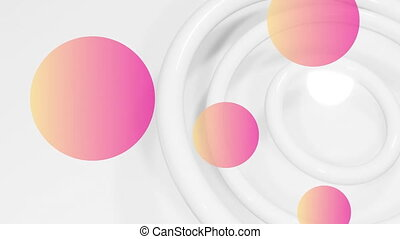 Animation of multiple pink to orange balls over white circles pulsating in seamless loop in the background. Colour and movement concept digitally generated image.