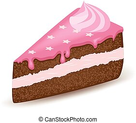 Pink Topping Cake - Piece of cake with all pink topping.