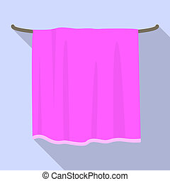 Pink towel icon, flat style