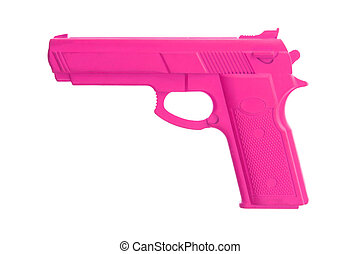 Pink training gun isolated on white, law enforcement