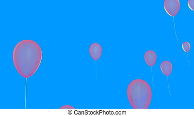 Pink transparent balloons flying over blue backdrop, alpha...