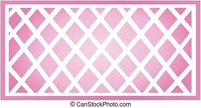 Illustration of a pink gradient trellis.
