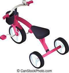 Pink tricycle icon, isometric style