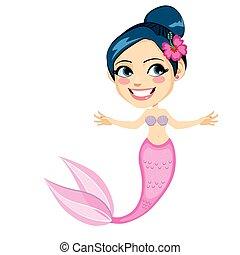 Pink Tropical Flower Mermaid