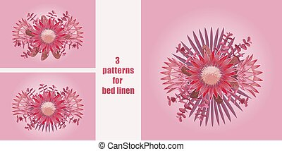 Pink tropical flowers patterns set for bed linen