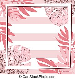 Pink tropical leaves with frame. Striped background