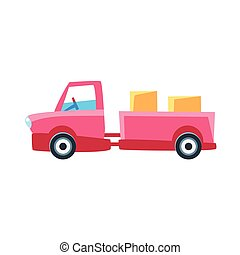 Pink Truck With Trailer Toy Cute Car Icon