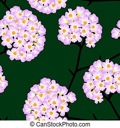 Pink Trumpet Flower on Green Background. Vector Illustration