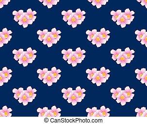 Pink Trumpet Flower Seamless on Indigo Blue Background