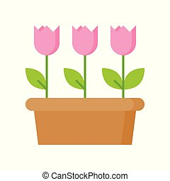 Pink tulip flower icon isolated on white background vector illustration