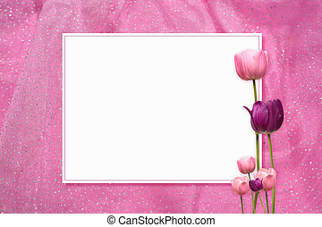 Pink Tulip Frame - a frame with tulips on a pink background