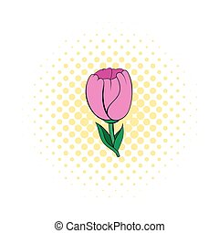 Pink tulip icon in comics style