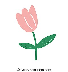 Pink tulip isolated on white background. Vector illustration