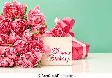 Pink tulips, gift ang greeting card Happy Birthday