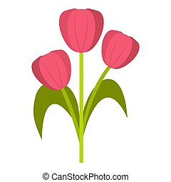 Pink tulips icon isolated