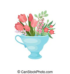 Pink tulips in a mug. Vector illustration on white background.