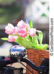 pink tulips in a wickery bike basket