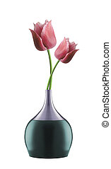 Pink tulips in bright vase isolated
