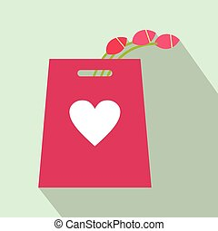 Pink tulips in the shopping bag flat icon