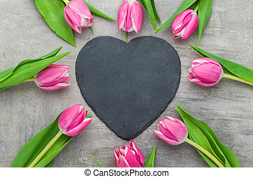 Pink Tulips with an empty heart shaped sign