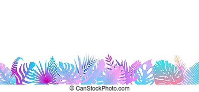 Pink turquoise fern background. Horizontal decoration of alien rainforest in the sunshine.
