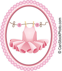 Scalable vectorial image representing a pink tutu label, isolated on white.