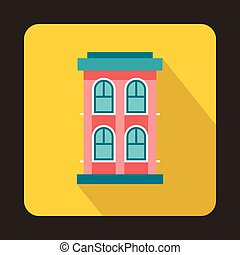 Pink two storey house icon, flat style