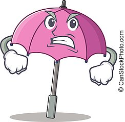 Pink umbrella cartoon character design with angry face