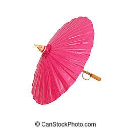 Pink umbrella handmade on white background
