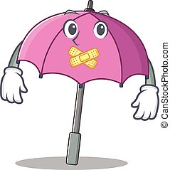 Pink umbrella mascot cartoon character design with silent gesture