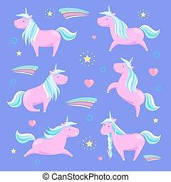 Pink Unicorn and Rainbow Vector Illustration
