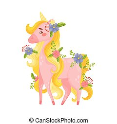 Pink Unicorn Standing Looking Playfully Vector Illustration...
