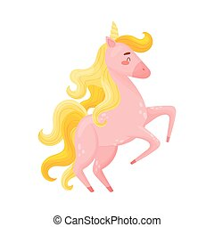 Pink Unicorn With Closed Eyes Rearing Up Vector Illustration