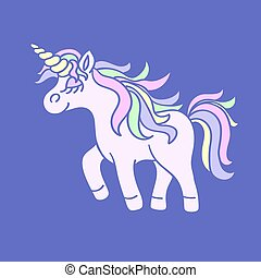 Pink unicorn with yellow horn on blue background