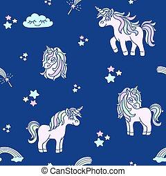 Pink unicorns on the navy blue seamless pattern