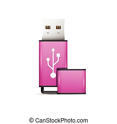 Pink universal flash drive isolated on the white background.