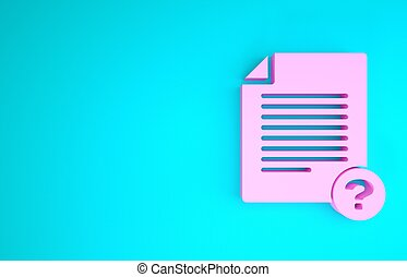 Pink Unknown document icon isolated on blue background. File with Question mark. Hold report, service and global search sign. Minimalism concept. 3d illustration 3D render