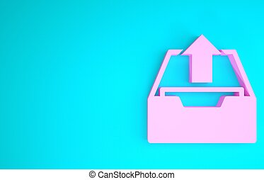Pink Upload inbox icon isolated on blue background. Extract files from archive. Minimalism concept. 3d illustration 3D render