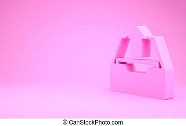 Pink Upload inbox icon isolated on pink background. Extract files from archive. Minimalism concept. 3d illustration 3D render