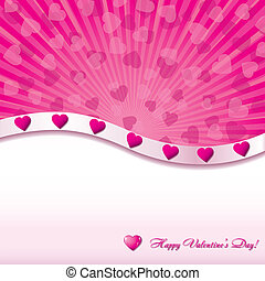 Pink valentine background with hearts, vector illustration