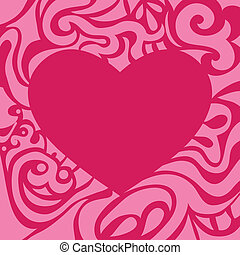 Pink valentine card may be used as decorative frame