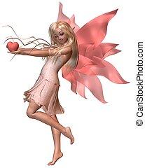 Pink Valentine Fairy - 2 - Pink valentine fairy holding a...